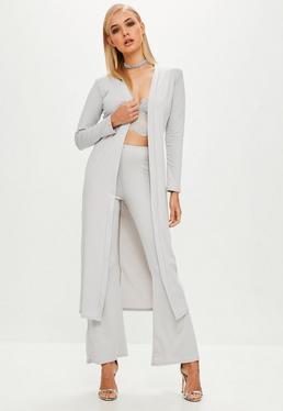 Gray Crepe Long Sleeve Duster Jacket