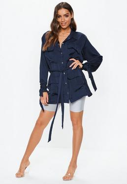 Carli Bybel x Missguided Navy Satin Jacket