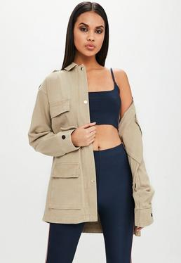Carli Bybel x Missguided Brown Cotton Twill Jacket