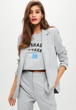 Grey Pinstripe Blazer