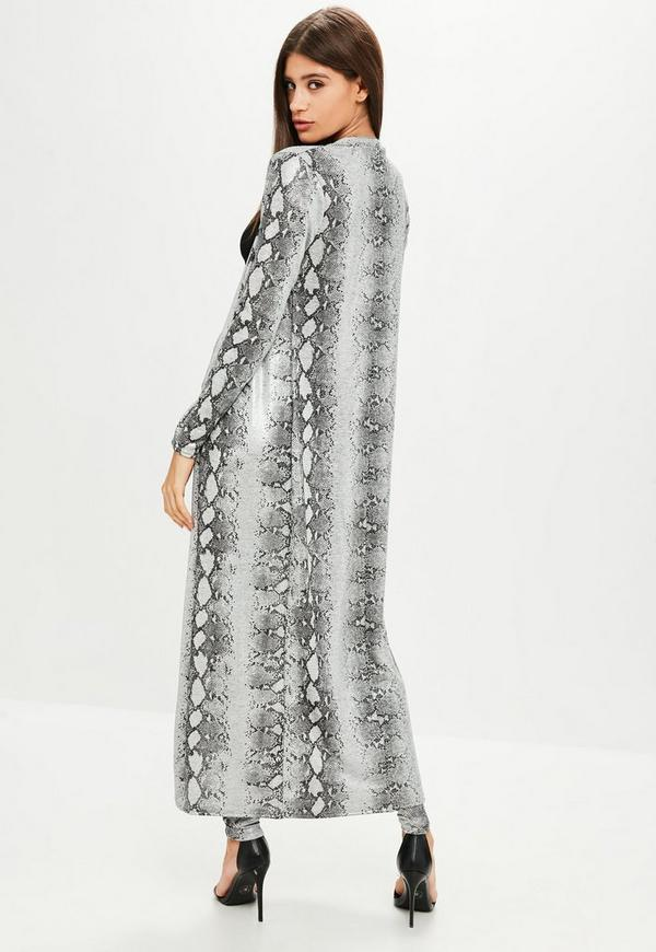 Grey Snake Print Duster Jacket Missguided