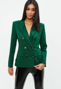 Forest Green Crepe Double Breasted Blazer
