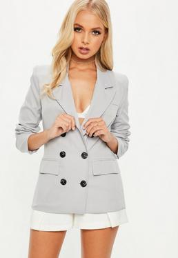 Crepe Double Breasted Blazer Grey