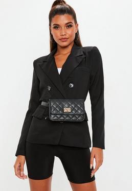 Black Crepe Double Breasted Blazer