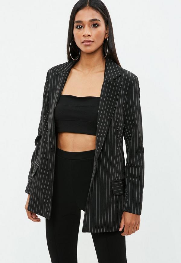 blazer noir oversize rayures missguided. Black Bedroom Furniture Sets. Home Design Ideas