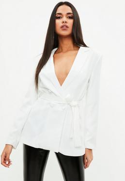 White Tie Waist Double Breasted Blazer