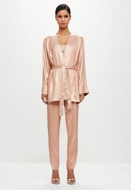Peace + Love Blush Metallic Long Loose Jacket