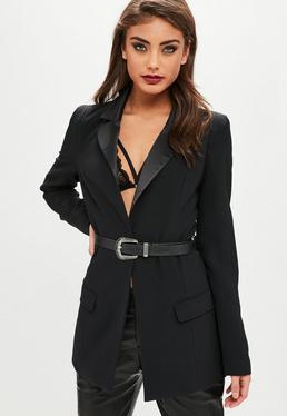 Black Buckle Belted Blazer
