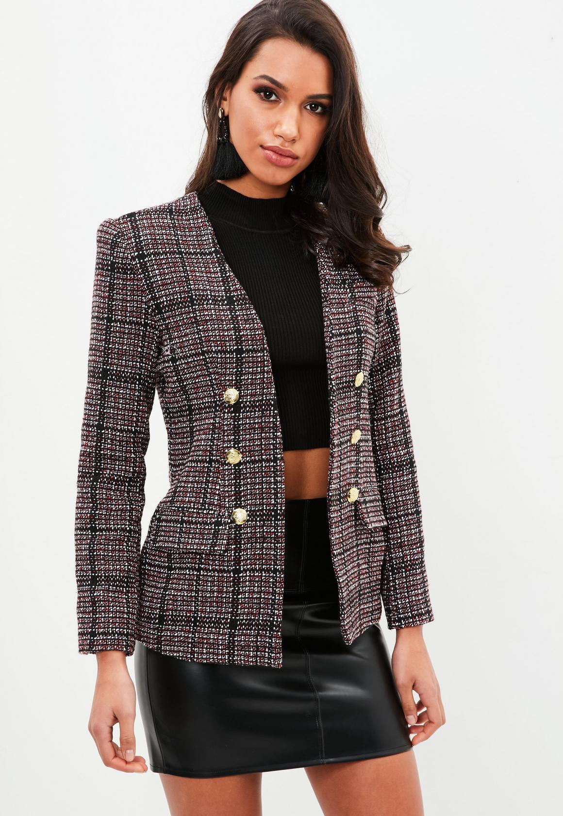 Red Boucle Military Jacket | Missguided
