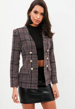 Red Boucle Military Jacket