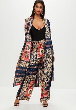 Navy Satin Printed Duster Kimono