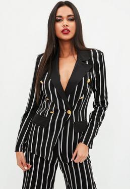 Black Military Striped Blazer
