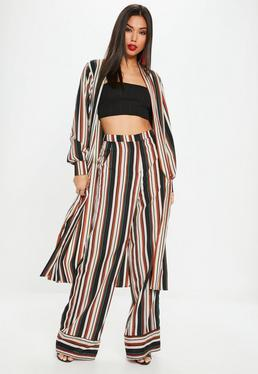 Navy Multi Stripe Side Split Duster Jacket