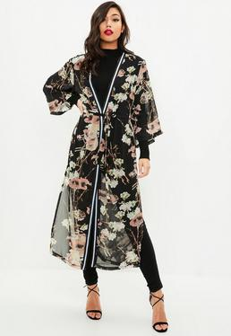 Black Floral Print Striped Duster Jacket