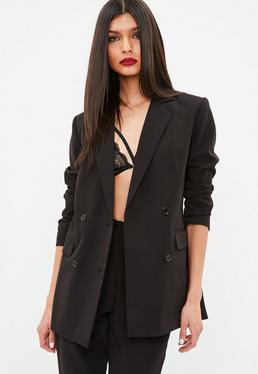 Black Button Double Breasted Longline Blazer