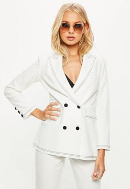 White Contrast Stitch Double Breasted Suit Blazer
