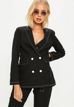 Black Contrast Stitch Double Breasted Suit Blazer Jacket