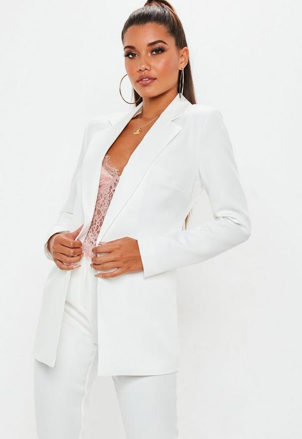 white boyfriend style blazer missguided. Black Bedroom Furniture Sets. Home Design Ideas
