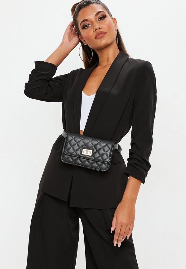 Black Ruched Sleeve Blazer Jacket Missguided