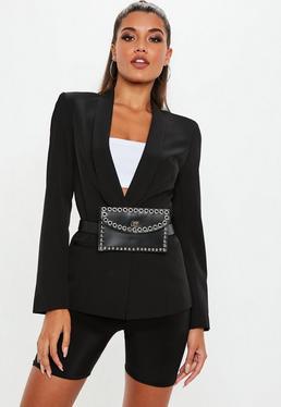 Black Skinny Tux Blazer Jacket