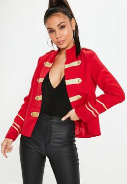 Red Military Gold Button Detail Jacket