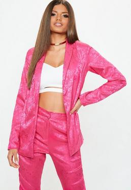 Pink Jacquard Pyjama Style Jacket