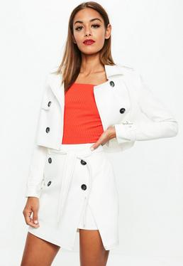 White Cropped Contrast Stitch Jacket