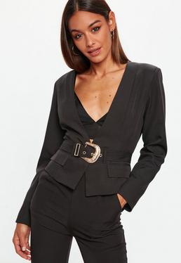 Black Cropped Western Belt Blazer