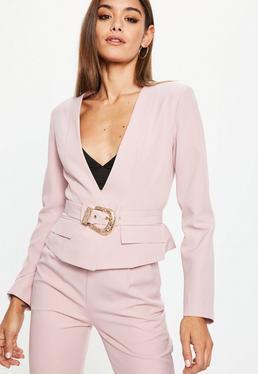 Pink Cropped Western Belt Blazer