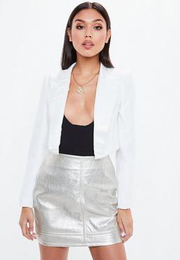 White Cropped Satin Lapel Tuxedo Jacket