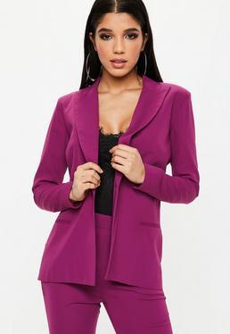 Purple Single Button Front Longline Blazer