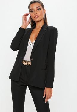 Black Single Button Front Longline Blazer