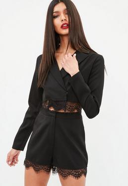 Black Cropped Lace Hem Blazer