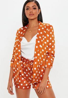 Orange Polka Dot Gathered Sleeve Blazer