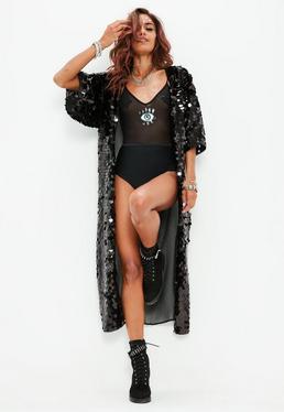 Black Sequin Kimono