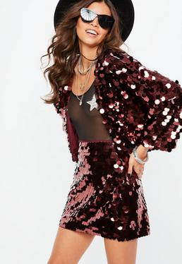 Purple Large Disc Sequin Cropped Jacket