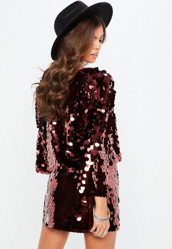 Purple Large Disc Sequin Cropped Jacket Missguided