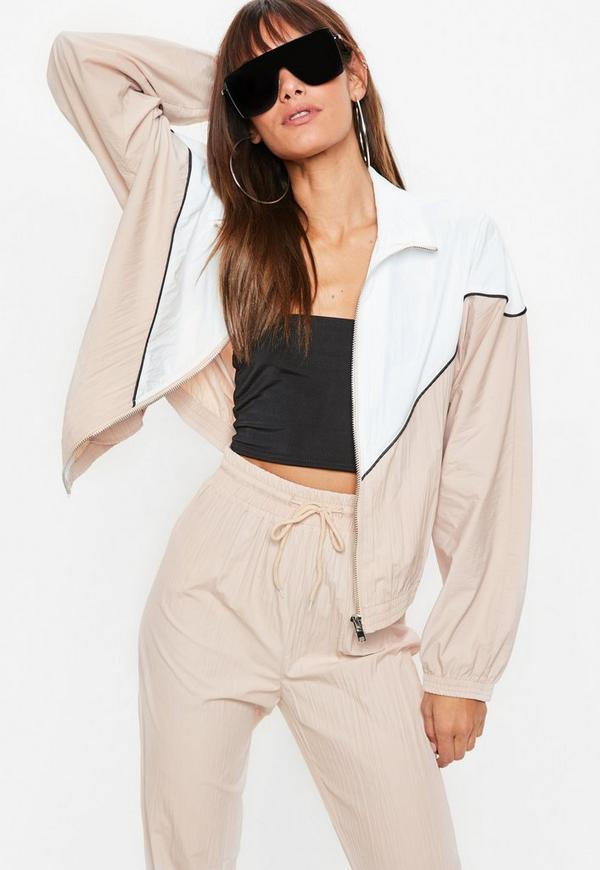 Nude Colour Block Shell Suit Jacket by Missguided
