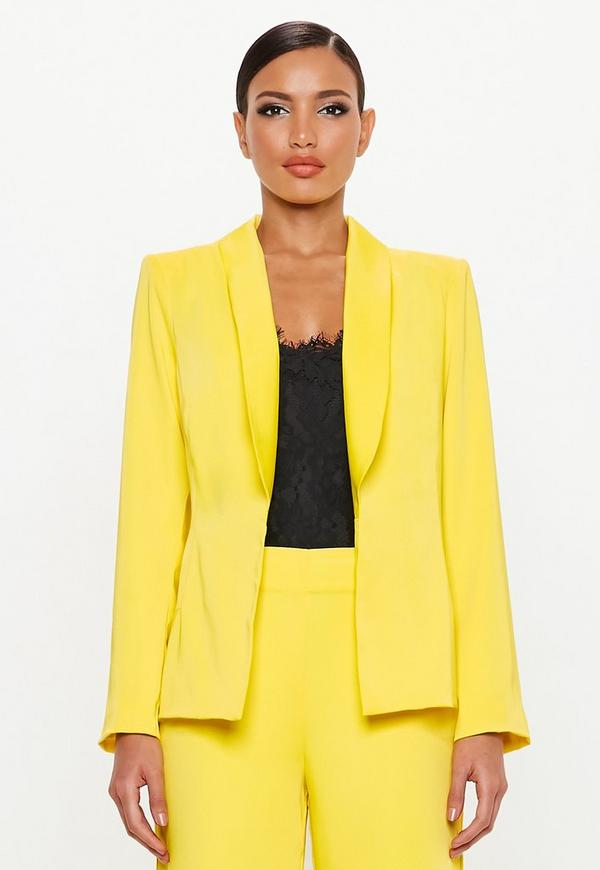 Peace + Love Yellow Satin Back Tux Blazer by Missguided