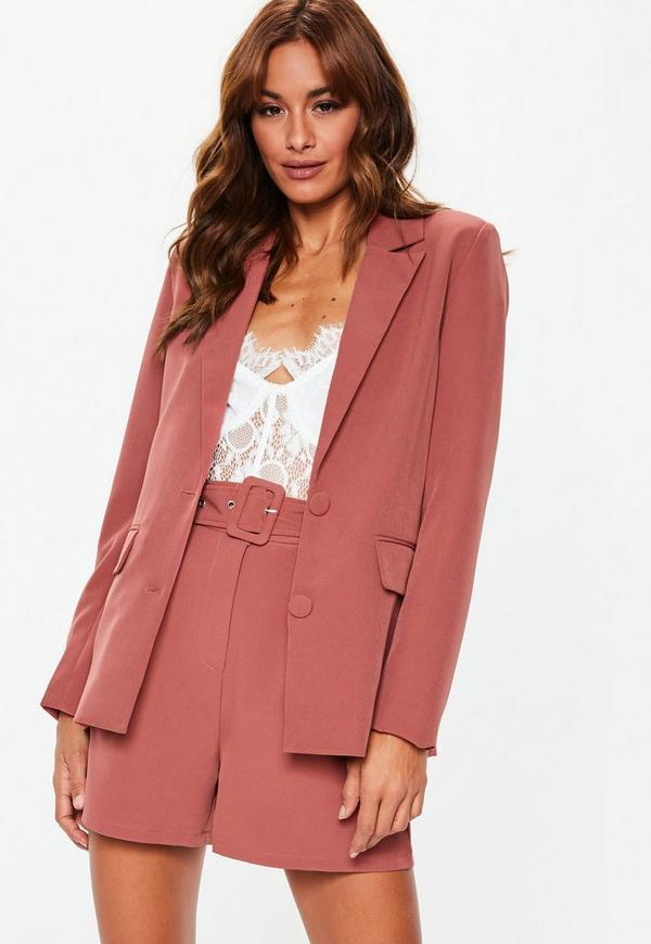 Rose Pink Button Tailored Co Ord Blazer | Missguided
