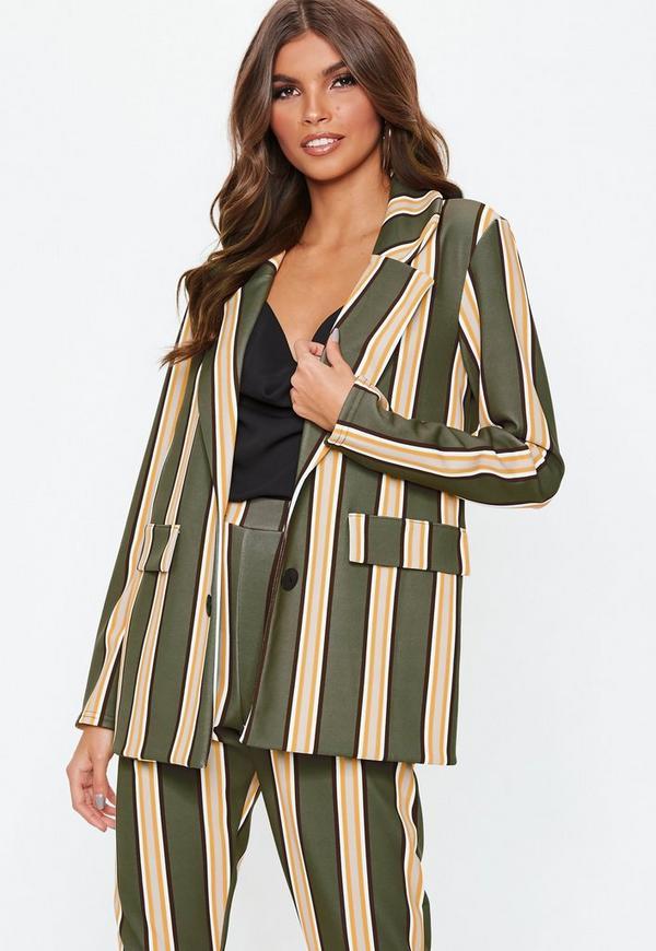 995529a4b0 Khaki Striped Blazer