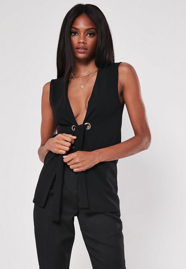 ab1c51ff41f7a8 ... Black Sleeveless Tie Waist Blazer. Previous Next
