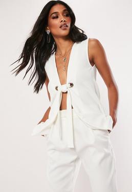 be5bc7c44bc9b8 White Co Ord D Ring Belt Pocket Front Blazer  White Sleeveless Tie Front  Blazer