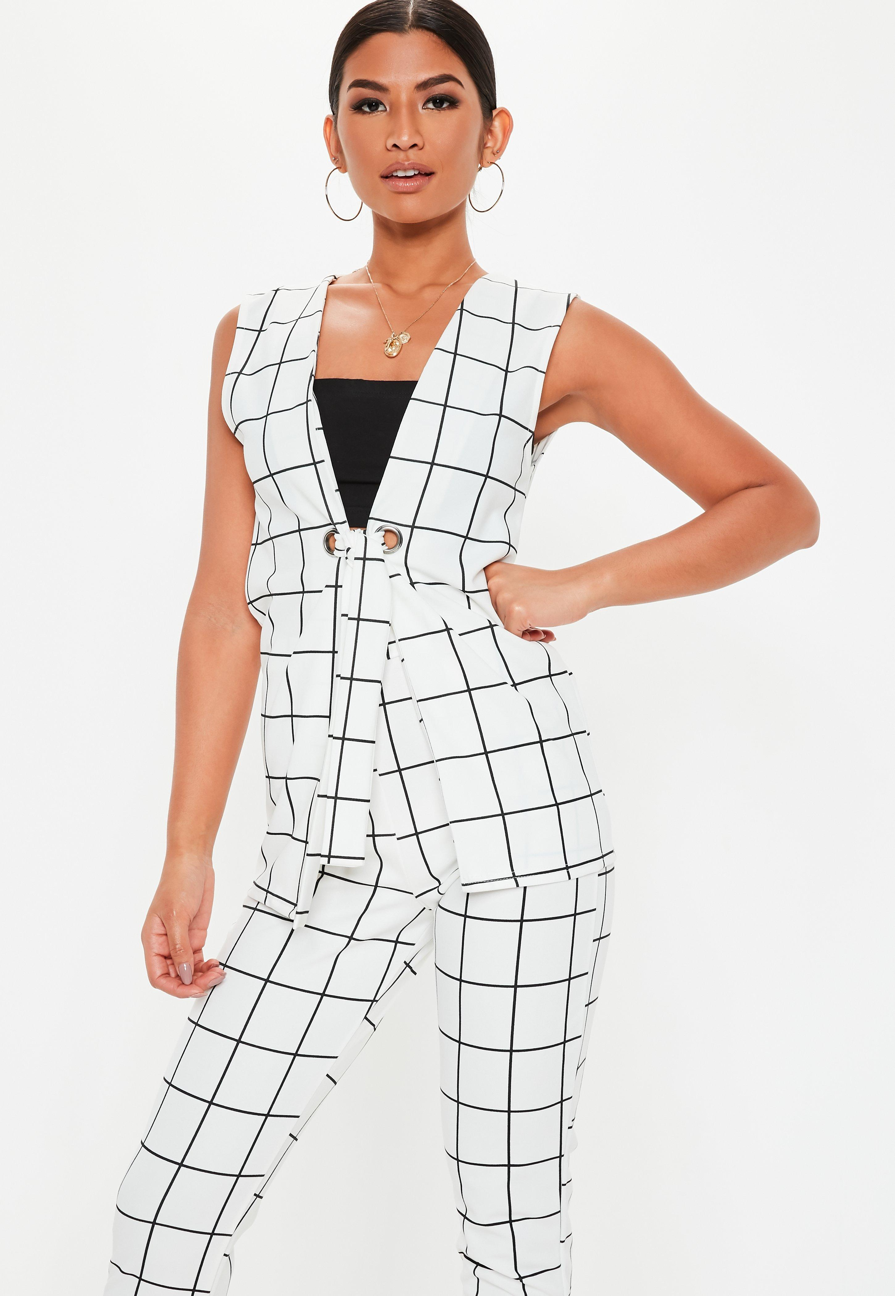 White Grid Co Ord Sleeveless Blazer by Missguided