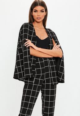 87d3d05e67d Nude Longline Blazer  Black Grid Cape Blazer