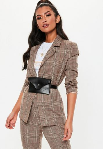 Brown Woven Plaid Tailored Co Ord Blazer Missguided