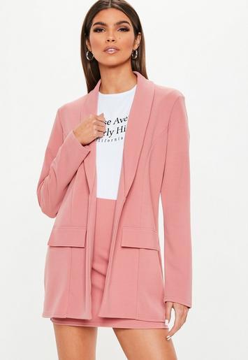 Pink Crepe Oversized Suit Jacket Missguided Ireland