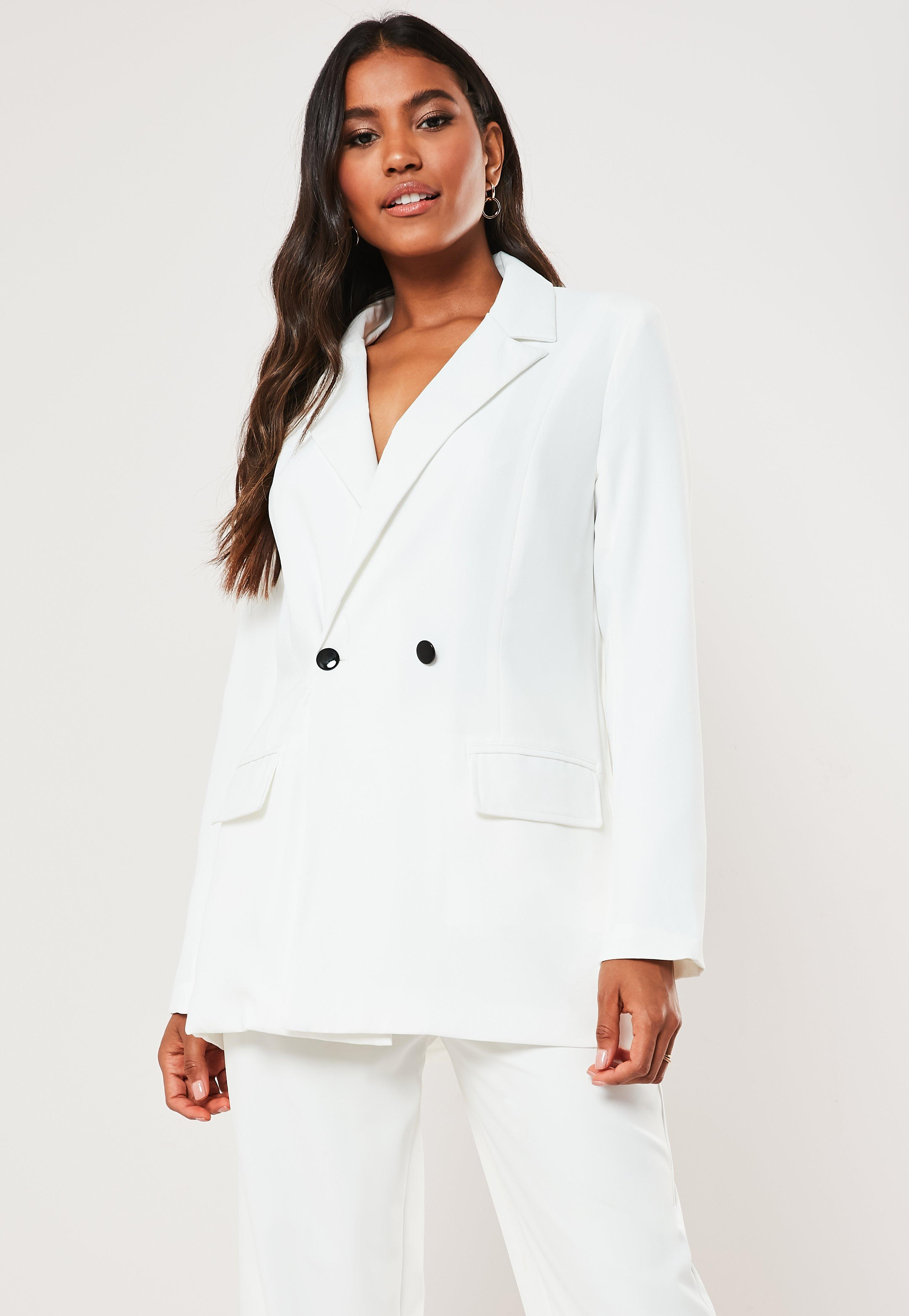 White Long Oversized Blazer by Missguided