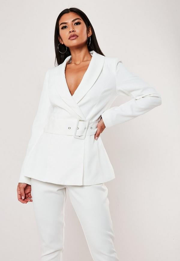 187e97b4 White Co Ord Tortoise Shell Double Breasted Blazer | Missguided ...