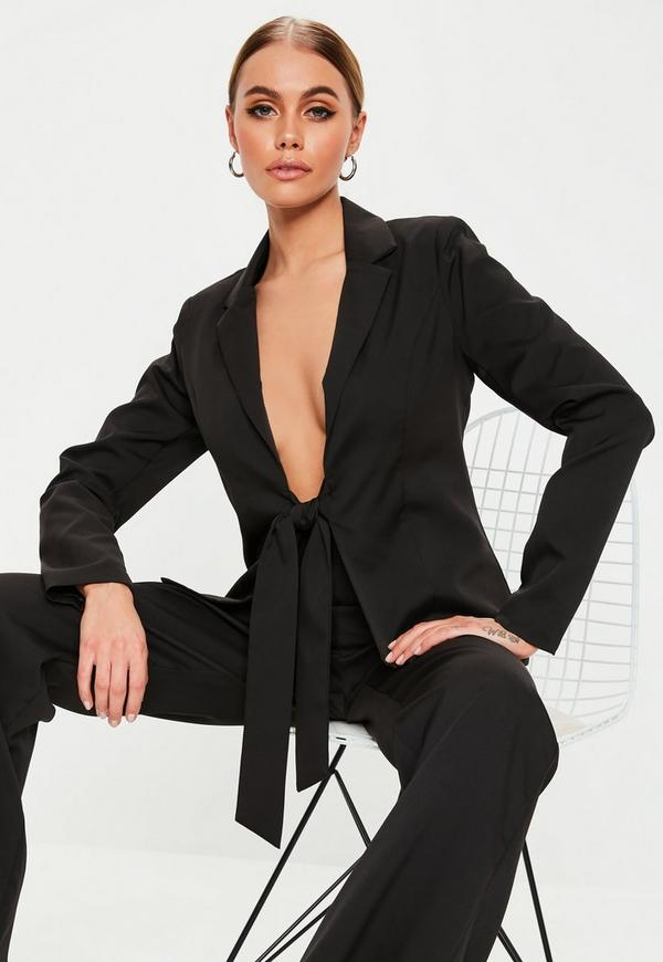 Black Tie Front Co Ord Blazer by Missguided